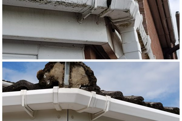 Before and After Conservatory Gutters Doddington